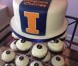 Illini Graduation Cake and Cupcakes