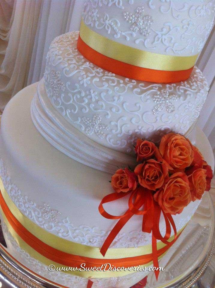 Orange Themed Wedding Cake Sweet Discoveries