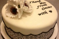 Black and White Thank You Cake