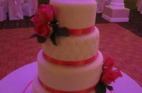 White & Pink Wedding Cake